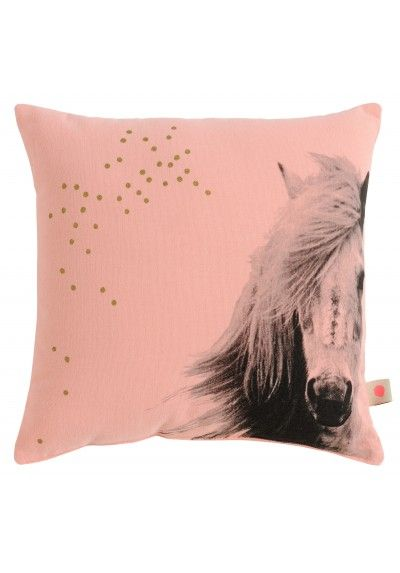 La Cerise Sur Le Gateau Horse Cushion: Small pink cushion featuring a horse called Johnny Bubble. This would look beautiful in a child's room or playroom.