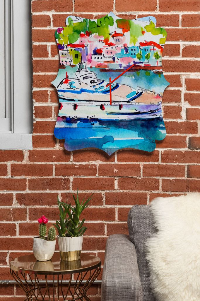 Ginette Fine Art Boating In Italy Quatrefoil Clock | DENY Designs Home Accessories  #Clock #HomeDecor #Decor #Interiors #Design #Boat #Boating #Sailing #Yacht #Italy #River #Nautical #Marine #Blue #Watercolor #Painting #Impressionist #Impresionism #Art #Artist #GinetteCallaway #Ginette #Callaway