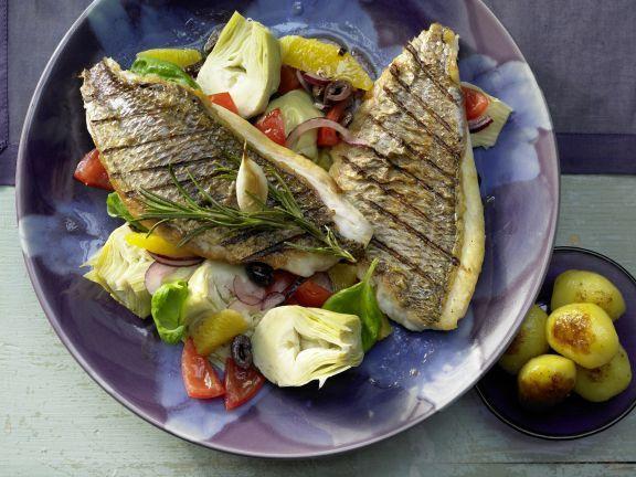 Sea Bream with Artichoke, Tomato, and Olive Salad | Eat Smarter