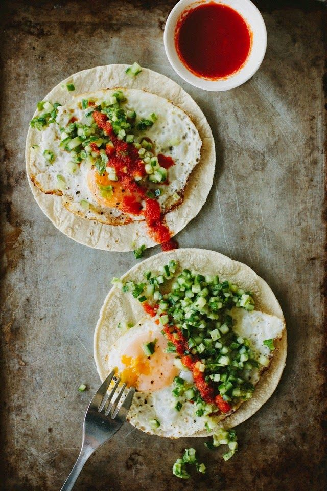 Fried egg tortilla with cucumber jalapeno salsa recipe