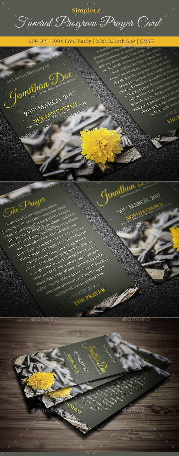 Funeral Program Prayer card Template, great for any memorial or funeral events. All text and graphics in the files are editable an