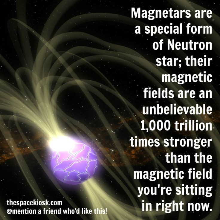 Magnetars are a special form of Neutron star with the most powerful magnetic fields in the Universe. Bite-sized, mind blowing space facts about the Universe and the cosmos. Whether you're new to astronomy / astrophysics or not, check us out @ https://www.instagram.com/thespacekiosk/ Image: NASA Goddard Space Flight Center Conceptual Image Lab