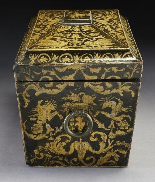 Lot 253 English Penwork Tea Caddy Of Sarcophagus Form Number Dallas AuctionTea
