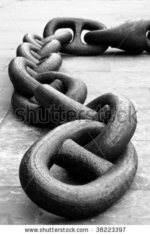 Close up of a rusty anchor chain. Black and White - stock photo