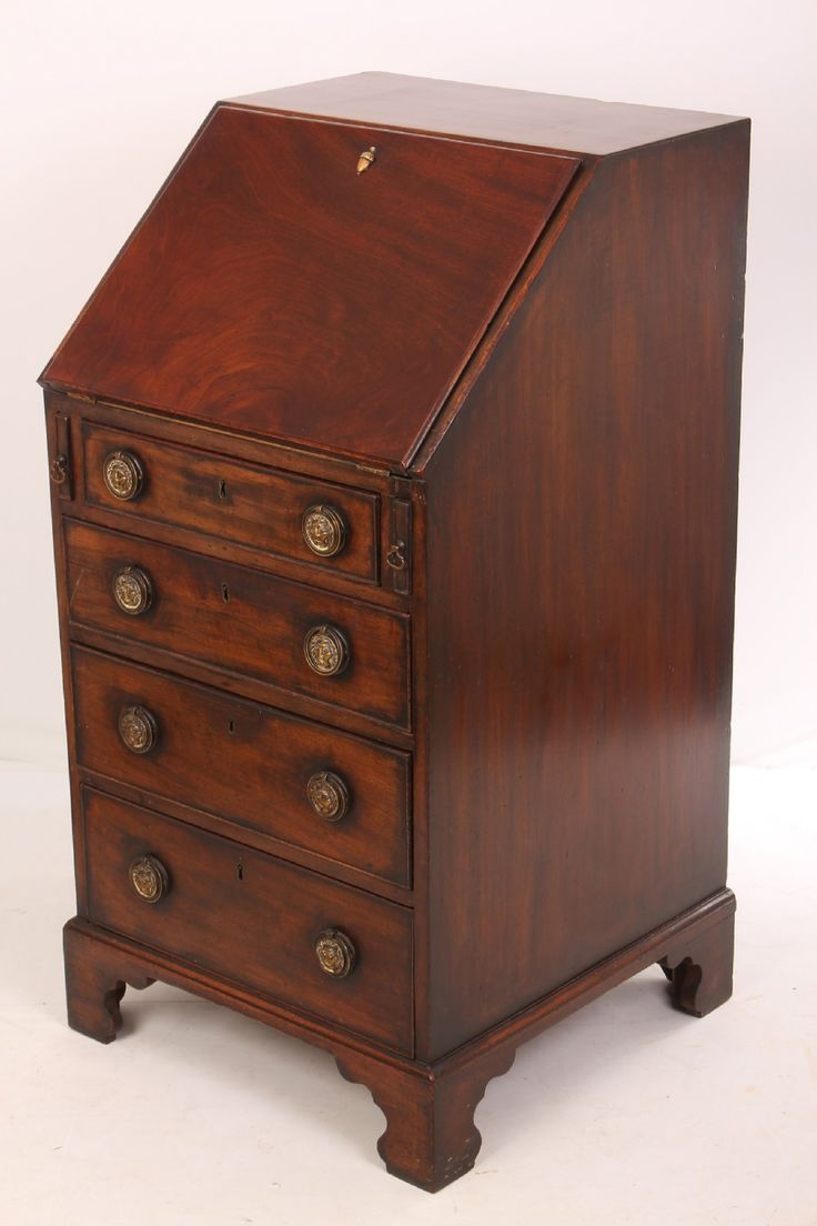 in great condition this is an unusual sized slim mahogany bureau with a solid oak drawer this piece is well made and of top quality