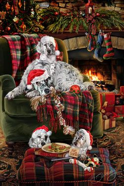 "New for 2014! English Setter Christmas Holiday Cards are 8 1/2"" x 5 1/2"" and come in packages of 12 cards. One design per package. All designs include envelopes, your personal message, and choice of greeting. Select the inside greeting of your choice from the menu below.Add your custom personal message to the Comments box during checkout."
