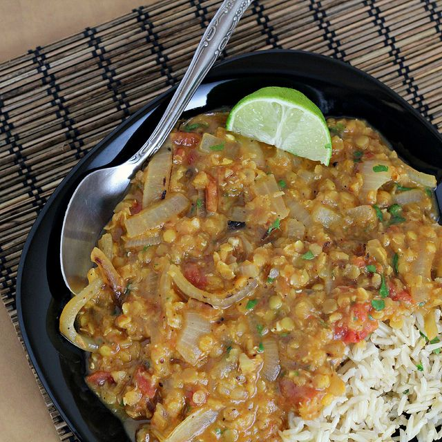 This is one of my family's favorite meals!!  Recipe: Red Lentil Dal with Charred Onions