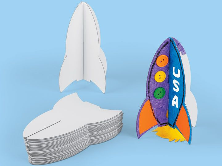 3-D Rocket Ship Collage Boards