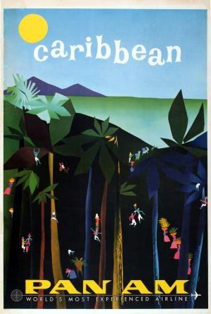 Caribbean PanAm Aaron Fine, 1950s - original vintage poster listed on AntikBar.co.uk                                                                                                                                                     More