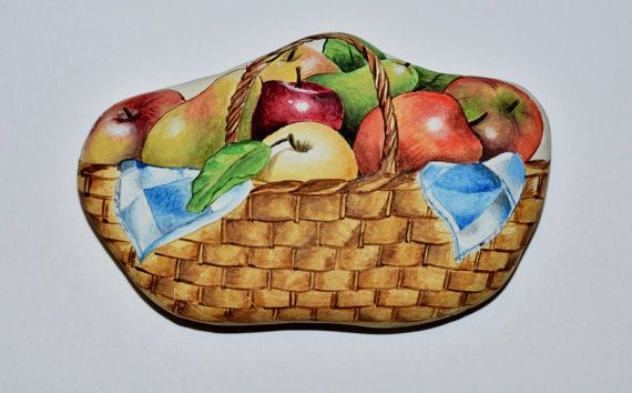 Painted stone sasso dipinto a mano. Basket of by OceanomareArt