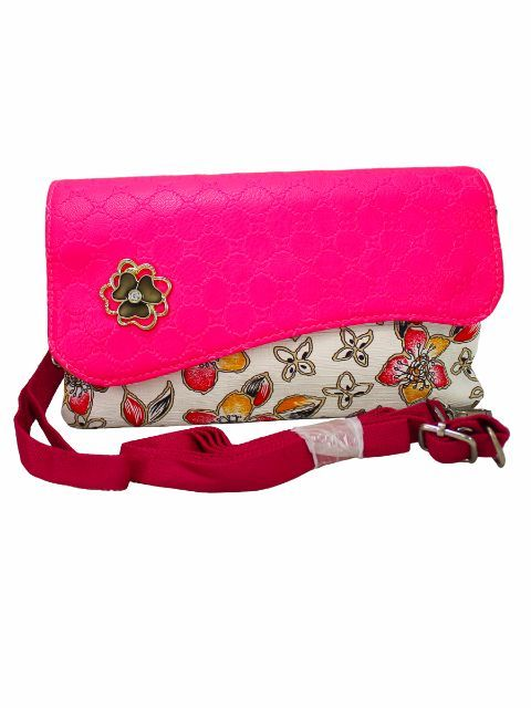 Buy Florescent Pink Printed Purse With Sling Strap - Oyeshop