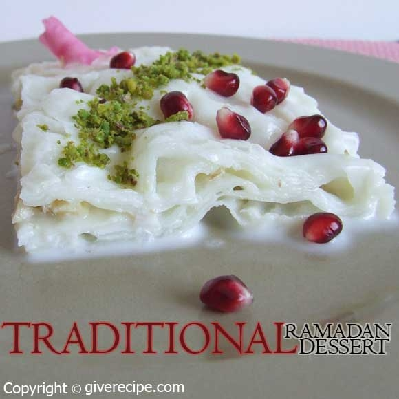 Gullac /  Güllaç is a Turkish dessert made with milk, pomegranate and a special kind of pastry. It is consumed especially during Ramadan.