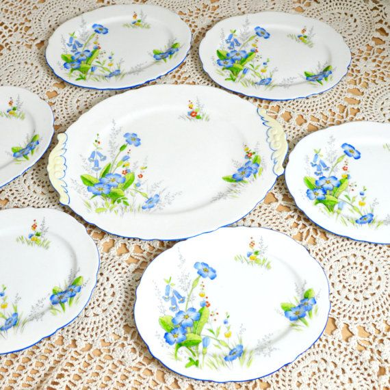 Paragon Art Deco Sandwich or Cakes Plates Set Blue by Wicksteads
