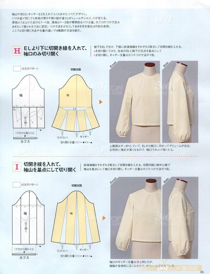Виды, выкройки и схемы рукавов из японских журналов