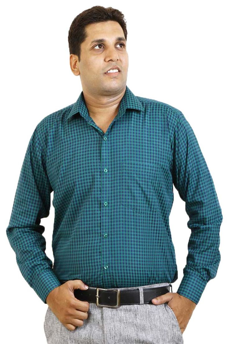http://tinyurl.com/hze9onc Buy SIERA Green Check Polyester Cotton Formal Shirts Online at GetAbhi.com