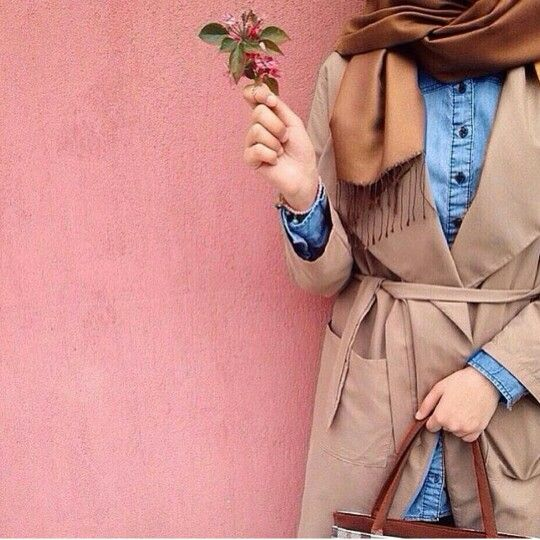 How to get hijab trendy looks - denim shirt with tan coat- http://www.justtrendygirls.com/how-to-get-hijab-trendy-looks/