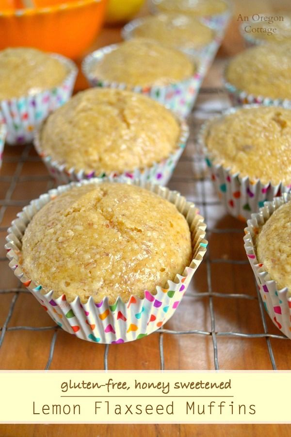 Lemon Flaxseed Muffins- Gluten-Free & Honey Sweetened: http://anoregoncottage.com/honey-sweetened-lemon-flaxseed-muffins-gluten-free/