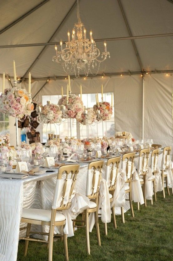 white blush and gold wedding reception with chandeliers. Black Bedroom Furniture Sets. Home Design Ideas