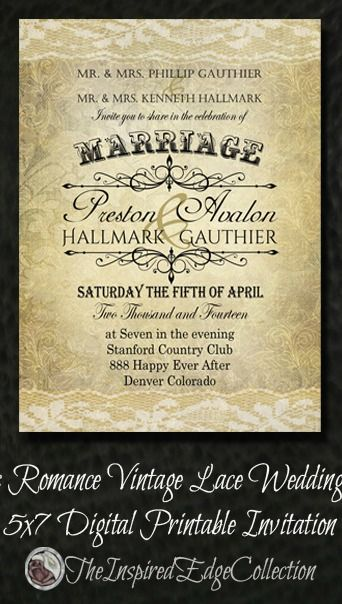 26 best wedding invitations and save the dates images on pinterest new rustic vintage lace wedding invitation at our etsy store save money and print them solutioingenieria Images