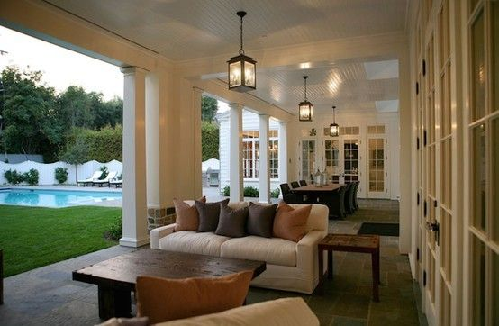 Beautiful Outdoor Family Room  - and more ideas: Covers Patio, Outdoor Living, Exterior, Outdoor Patio, Covered Patios, Back Porches, Outdoor Spaces, Outdoor Area, Decks Patio