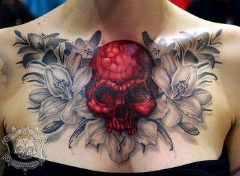 SkullTattoo For Women   MeezMaker Red Hot Skull Tattoo=Chest- Picture(: (Looky?) - Meez Forums