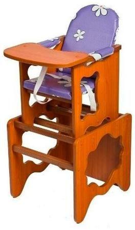 Пмдк Стол-стул премьер лдсп светлый орех (клеёнка) (ромашки фиолетовые)  — 1958р.  Стол-стул для кормления Премьер Удобный и функциональный стульчик для кормления. Легко трансформируется в столик и стул для малыша. Для создания высокого стульчика для кормления вам нужно установить  малый стул на столик. Стульчик устойчив и не опрокидывается. Края сглажены и безопасны для ребенка. 3-точечные ремни безопасности. Удобный съемный моющийся чехол из непромокаемой бязи. Высота от пола 52 см…