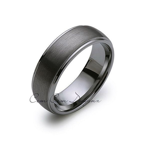 Wire Bands: 8mm Tungsten Wedding Band,Gun Metal, Dome Classic