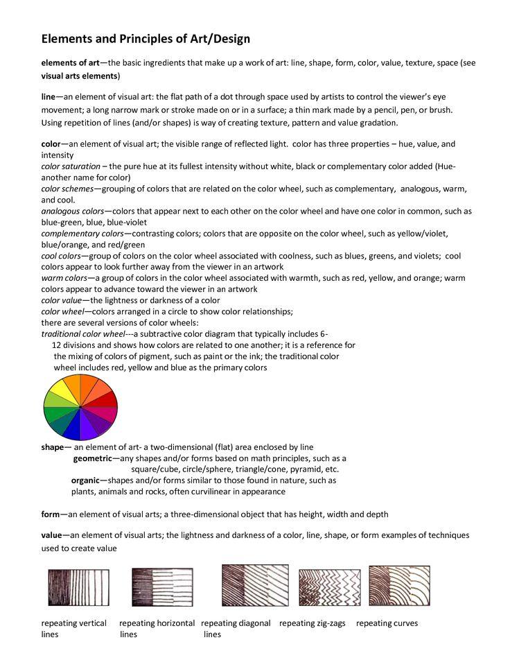 Art Handouts | elements and principles of art handout fashion