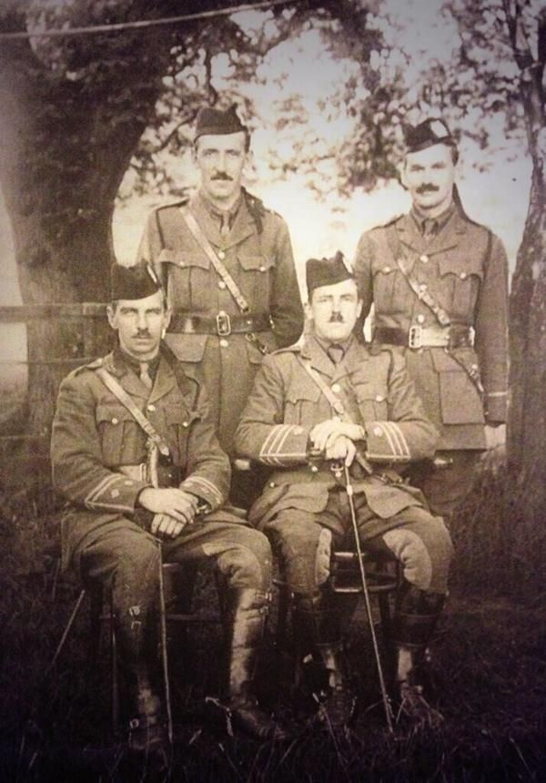 WW1, Battle of the Somme. All of the Tyneside Scottish Officers in this photo were killed on the first day of the battle, July 1st 1916.