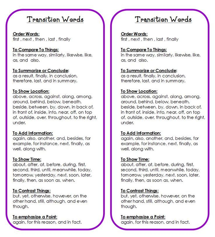 FREE Printables~  Transition word list for students to use when writing. This resource has a wealth of free printables.