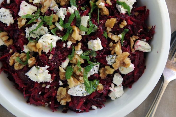 Beetroot, walnut & goat cheese salad w/ grapefruit & olive oil dressing.
