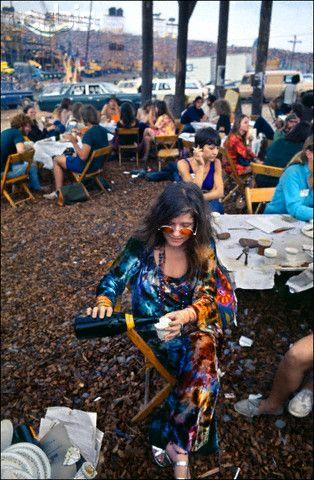 Janis Joplin backstage at Woodstock.