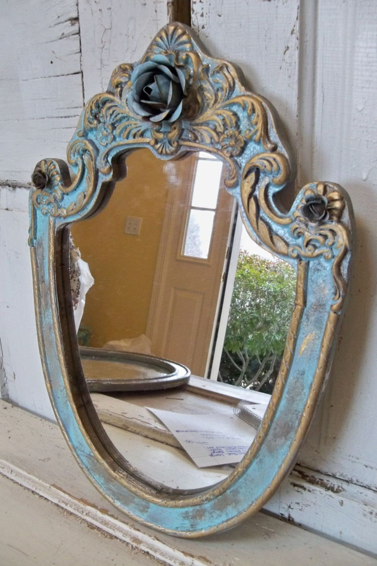 French provincial blue mirror distressed touches of gold ornate embellished with roses home decor Anita Spero. $90.00, via Etsy.