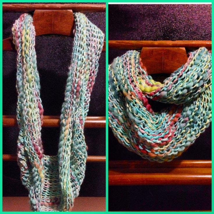 Loose knit infinity scarf made on Martha Stewart loom- 100% bamboo.