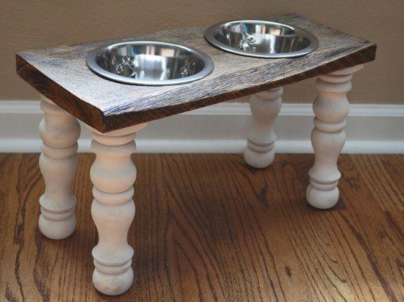"Reclaimed Wood Raised Farmhouse Dog Feeder 6.5"" Diameter Bowls on Etsy, $68.00"