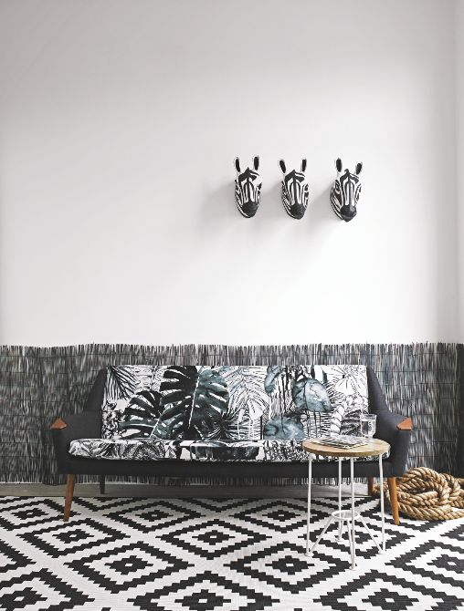 This Modern Living Room Shows The Impact Of Monochrome Decorating Geometric Rug Is From