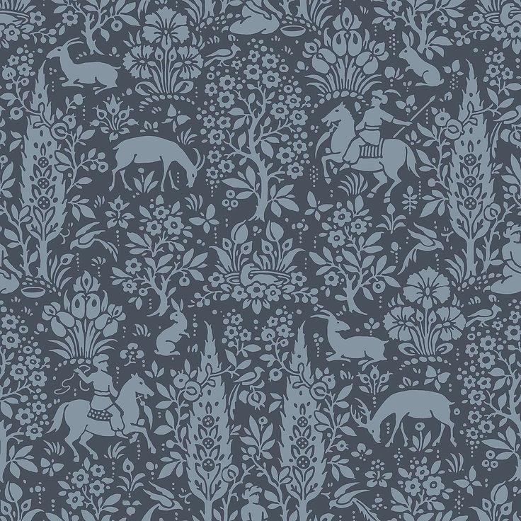 Woodland Dark Blue Wallpaper Dunelm Dark blue