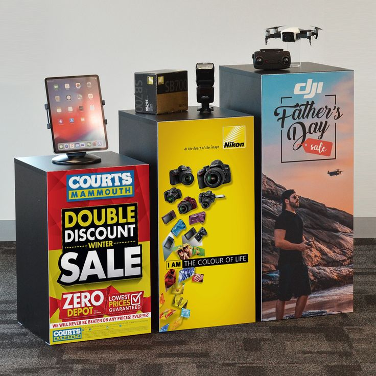 Dress up your plinths with our custom printed PVC posters