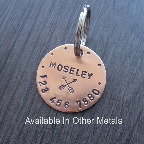 This dog tag can be purchased in Copper, Brass, or Aluminum. All metals are 18 gauge. The dog tag in the photo is 1 1/8 in diameter.  ***FONT SIZE OF DOGS NAME WILL BE CHANGED IF ITS TOO LONG TO HELP MAKE IT FIT***   ---LETTERING COLOR---  Black (First Photo) Natural (Second Photo)   ---TARNISHING---  THIS METAL WILL TARNISH OVER TIME.  It is a very pretty look, but if you do not like it you can remove it with a polishing pad which will be included with the order.   ---WHEN ORDERING---  ...