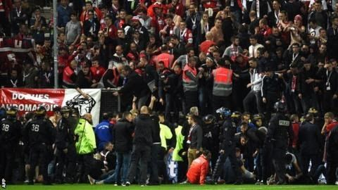 Amiens and Lille were playing each other in Ligue 1 for the first time  Five fans were seriously injured when a barrier collapsed at the front of a stand during a French top-flight match.  At  least 29 people were hurt in the incident which occurred in the 16th  minute of Amiens' Ligue 1 match with Lille at the Stade de la Licorne. A  barrier in front of the away section buckled as fans celebrated Fode  Ballo-Toure's goal and dozens fell about one and a half metres onto the  pitch. The match…