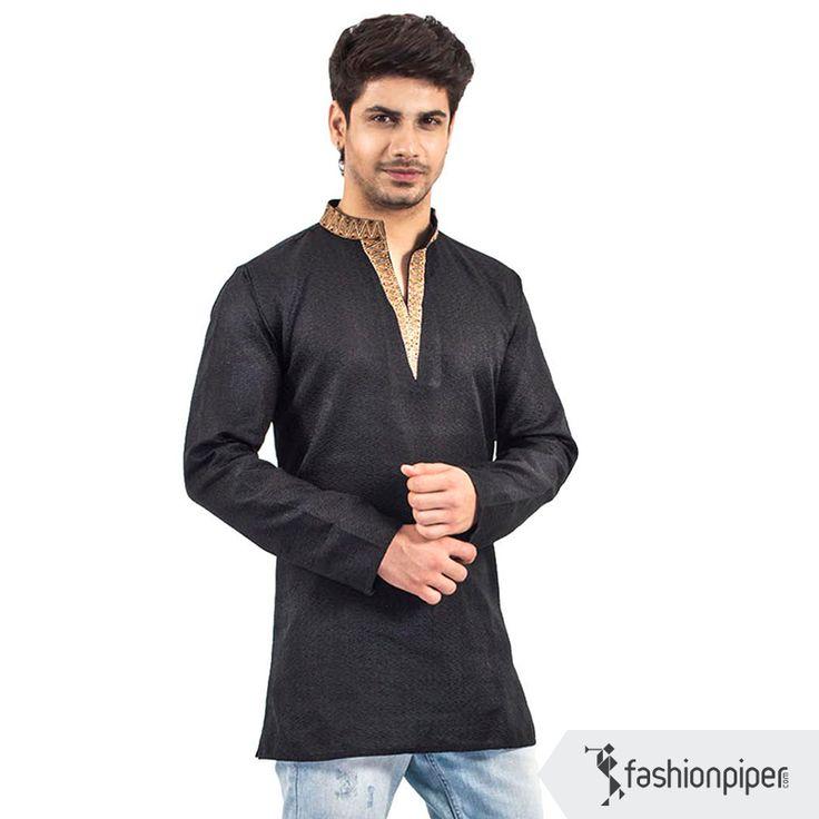 Stylish black kurta with neck work  Buy: http://www.fashionpiper.com/men/indian-wear/kurta-set/dark-knight-kurta-1751.html