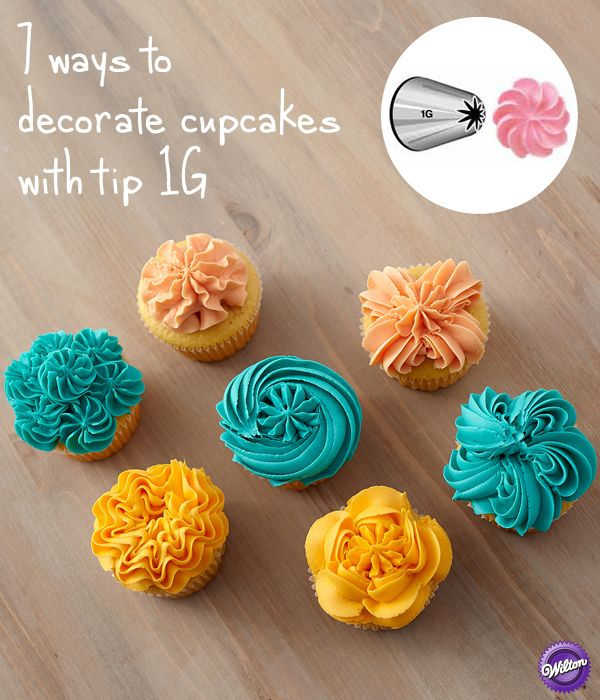 With just a single tip style and a few simple decorating techniques up your sleeve, a myriad of cupcakes are possible. Here a drop flower tip 1G and three vibrant colors of icing create seven impressi