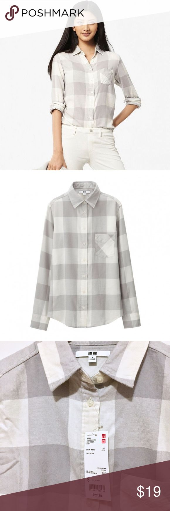 NWT Uniqlo Long Flannel Shirt Unique patterned long sleeve flannel shirt. New with tag and in a perfect condition. Size Small (2-4), comfortable fit. Wear it with jeans/leggings for effortless look or match with a cute skirt/dress. Uniqlo Tops Button Down Shirts