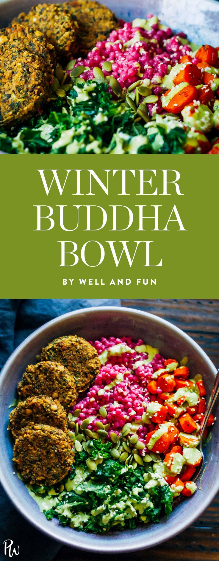 Winter Buddha Bowl by Well and Fun. 30 Warm and Cozy Grain Bowls to Make This Winter. #winterrecipes #grainbowls #buddhabowls #healthybowls #healthyrecipes #healthylunches #healthydinners