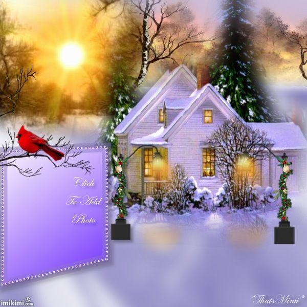~*~ Winter Wonderland Sunset ~*~ Click to add a photo. Looks Thomas Kincade esque. #winter #winterwonderland #snow #greetingcard