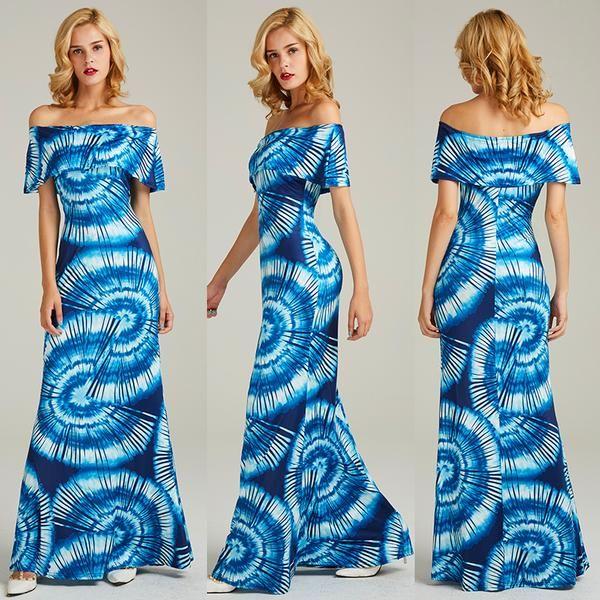 Slash Neck Lotus Leaf Print Dress