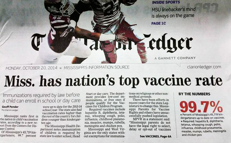 Mississippi has the highest rate of childhood vaccination because it is one of only two states in the U.S. that does not allow parents a choice regarding vaccines, as a requirement for attending school. Only a medical doctor can provide an exemption, as religious and philosophical exemptions are not allowed. It also has the highest infant mortality rates.