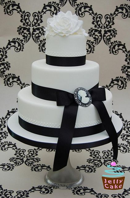 Black and White Cameo Wedding Cake by www.jellycake.co.uk, via Flickr