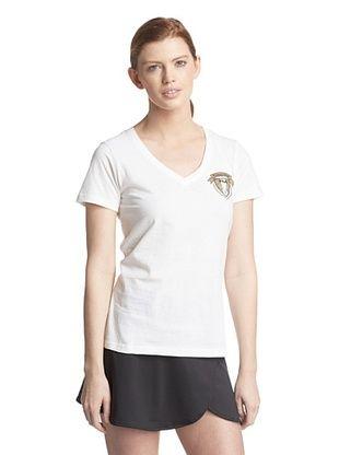 50% OFF Fila Women's V-Neck Crest Tee (White)