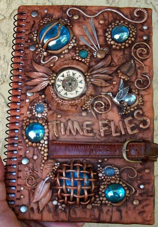 Polymer clay decorated journal by MandarinMoon.deviantart.com on @deviantART